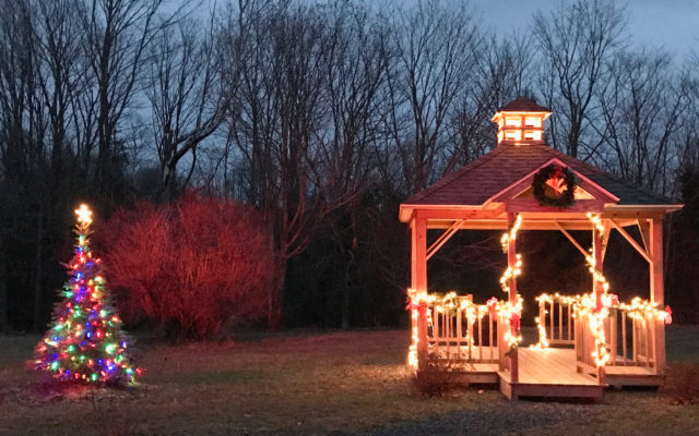 The gazebo and Christmas tree at Eastonu0027s Little School on the Station Road shine brightly during a recent tree lighting ceremony. (Hillary Hallett) & Easton churches plan Christmas services - The County azcodes.com