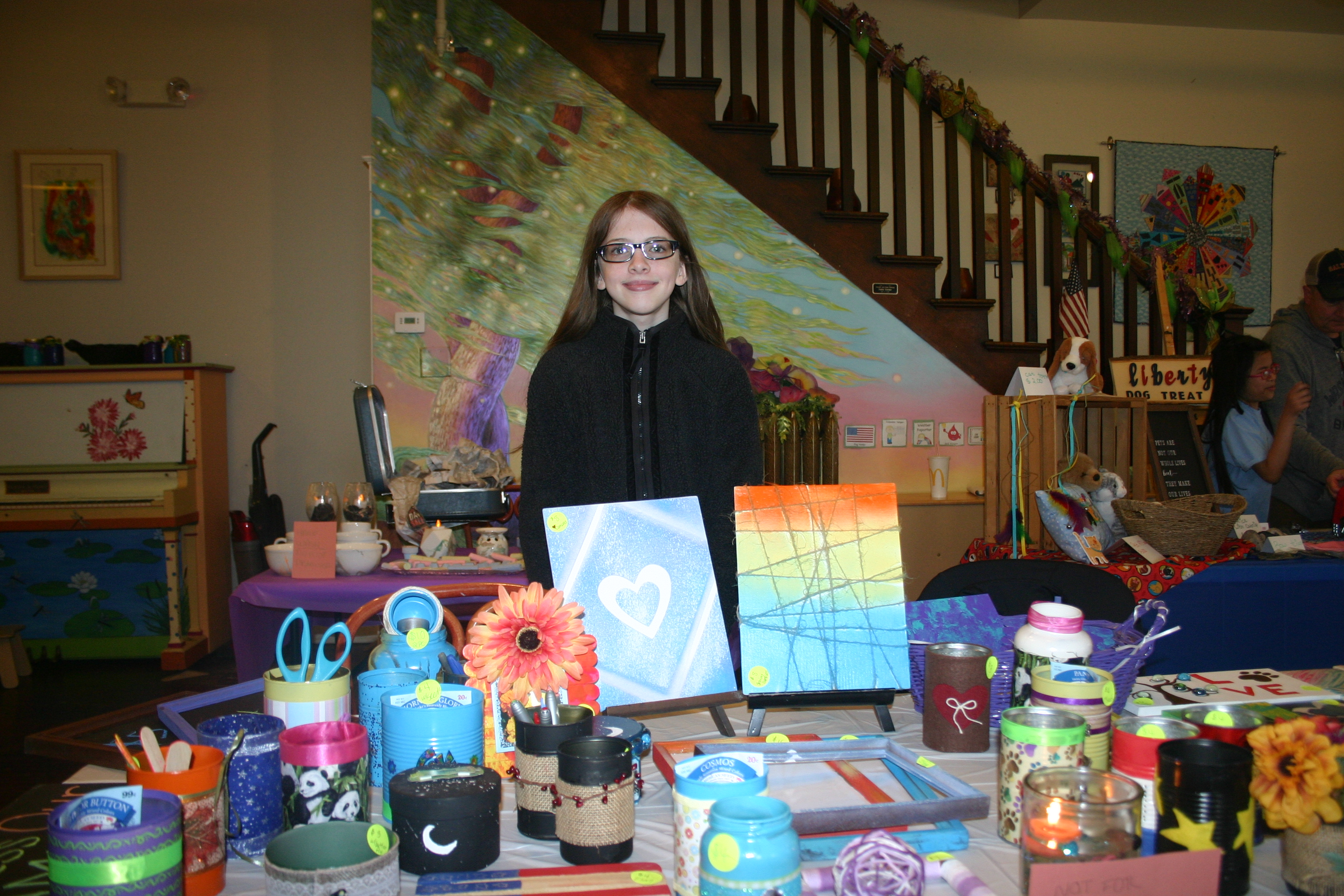 Children sell handmade arts and crafts at Wintergreen - The